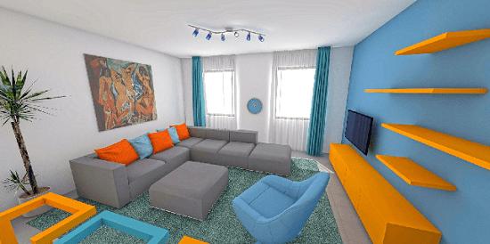Energikus, élénk terek, egyedileg tervezett, színes bútorkomplexumokkal