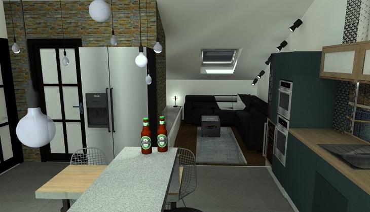 Modern loft, természetes anyagokkal – egy sportos férfi számára